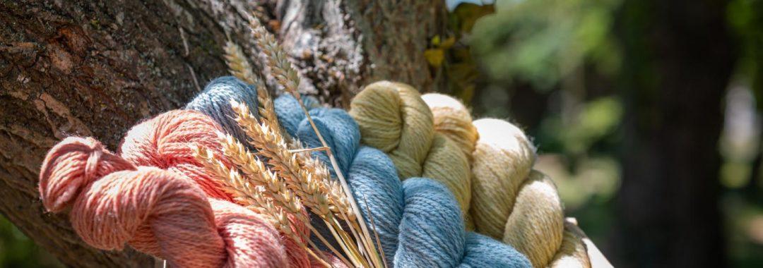 Écheveaux de laine en teintures naturelles